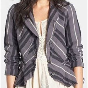 Free People Striped Linen Raw Edge Jacket